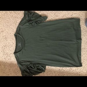 Green ruffle sleeve maternity shirt